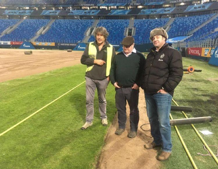 FK Zenit in Sint-Petersburg: graszodenaanleg voor WK 2019 en 2020, nu ook opdrachten voor EK-wedstrijden. Aanleg van een Mixto-hybrideveld