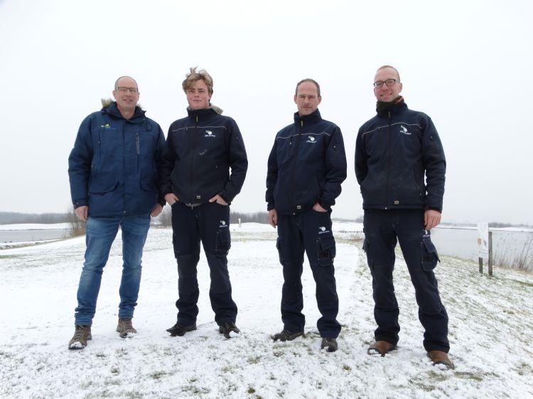 Het team op Bentwoud. V.l.n.r. Harry van Laviere (manager golffaciliteiten Bentwoud), assistent-hoofdgreenkeeper Milan den Dikken, hoofdgreenkeeper Kees IJsselstein en greenkeeper Michel Overbeeke.
