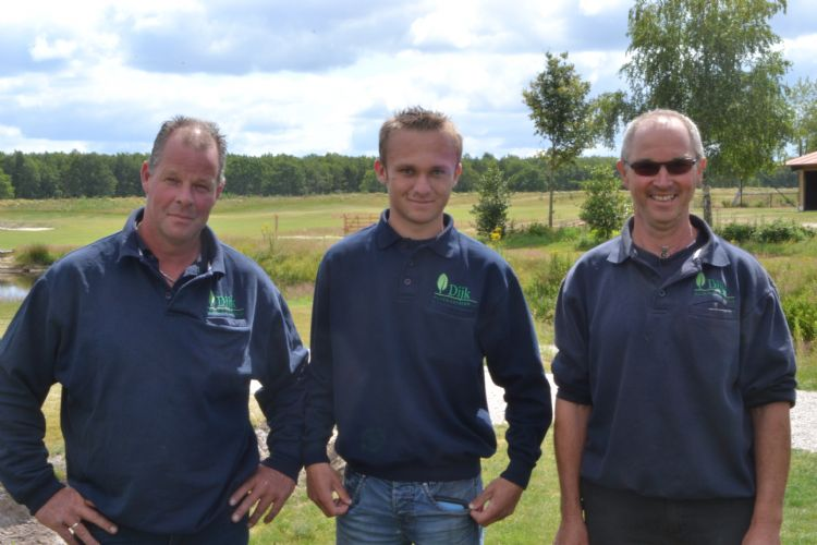 De drie greenkeepers van De Hildenberg: Alex Drint, Mike Boelens en Aaldert Post